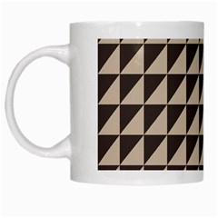 Brown Triangles Background Pattern  White Mugs