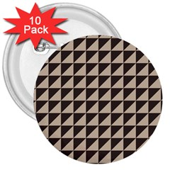 Brown Triangles Background Pattern  3  Buttons (10 Pack)