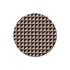 Brown Triangles Background Pattern  Rubber Round Coaster (4 Pack)