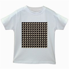 Brown Triangles Background Pattern  Kids White T Shirts