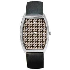 Brown Triangles Background Pattern  Barrel Style Metal Watch