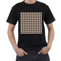 Brown Triangles Background Pattern  Men s T Shirt (black) (two Sided)