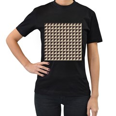Brown Triangles Background Pattern  Women s T Shirt (black) (two Sided)
