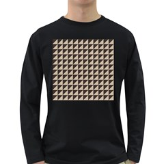 Brown Triangles Background Pattern  Long Sleeve Dark T Shirts
