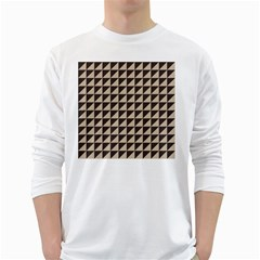 Brown Triangles Background Pattern  White Long Sleeve T Shirts