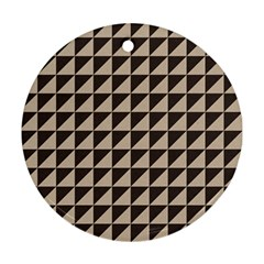 Brown Triangles Background Pattern  Round Ornament (two Sides)