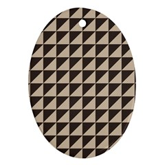 Brown Triangles Background Pattern  Oval Ornament (two Sides)