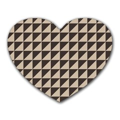 Brown Triangles Background Pattern  Heart Mousepads