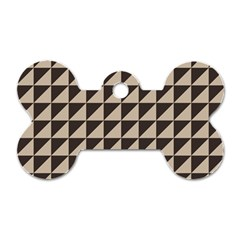 Brown Triangles Background Pattern  Dog Tag Bone (one Side)