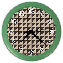 Brown Triangles Background Pattern  Color Wall Clocks