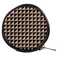 Brown Triangles Background Pattern  Mini Makeup Bags