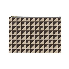Brown Triangles Background Pattern  Cosmetic Bag (large)