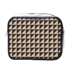 Brown Triangles Background Pattern  Mini Toiletries Bags