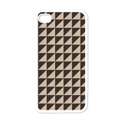 Brown Triangles Background Pattern  Apple Iphone 4 Case (white)