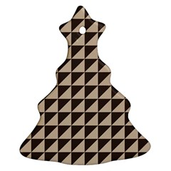 Brown Triangles Background Pattern  Christmas Tree Ornament (2 Sides)