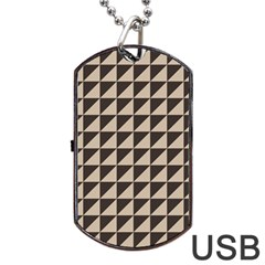 Brown Triangles Background Pattern  Dog Tag Usb Flash (one Side)