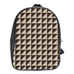 Brown Triangles Background Pattern  School Bags (xl)