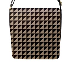 Brown Triangles Background Pattern  Flap Messenger Bag (l)
