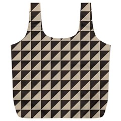 Brown Triangles Background Pattern  Full Print Recycle Bags (l)