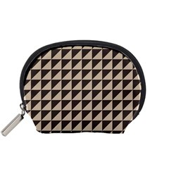 Brown Triangles Background Pattern  Accessory Pouches (small)