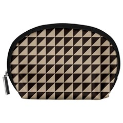 Brown Triangles Background Pattern  Accessory Pouches (large)