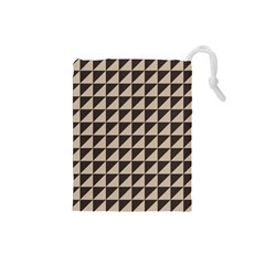 Brown Triangles Background Pattern  Drawstring Pouches (small)