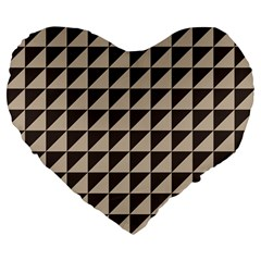 Brown Triangles Background Pattern  Large 19  Premium Flano Heart Shape Cushions