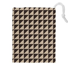 Brown Triangles Background Pattern  Drawstring Pouches (XXL)