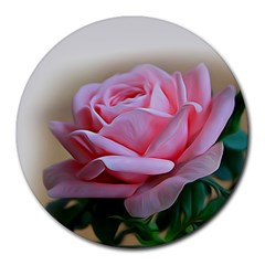 Rose Pink Flowers Pink Saturday Round Mousepads
