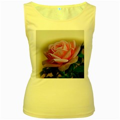 Rose Pink Flowers Pink Saturday Women s Yellow Tank Top