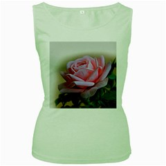 Rose Pink Flowers Pink Saturday Women s Green Tank Top