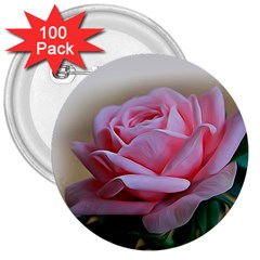 Rose Pink Flowers Pink Saturday 3  Buttons (100 Pack)