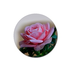Rose Pink Flowers Pink Saturday Rubber Coaster (round)