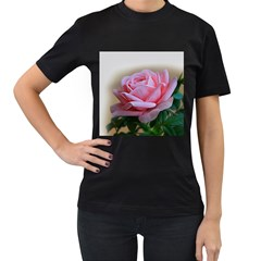 Rose Pink Flowers Pink Saturday Women s T-Shirt (Black) (Two Sided)