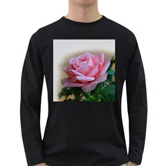 Rose Pink Flowers Pink Saturday Long Sleeve Dark T Shirts