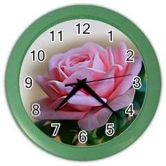 Rose Pink Flowers Pink Saturday Color Wall Clocks