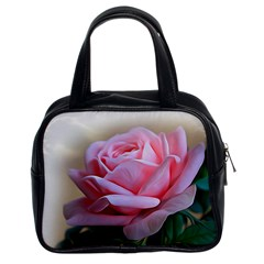 Rose Pink Flowers Pink Saturday Classic Handbags (2 Sides)