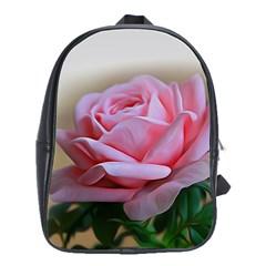 Rose Pink Flowers Pink Saturday School Bags(Large)