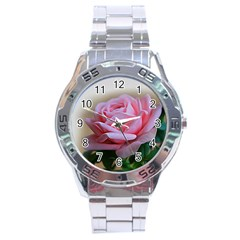 Rose Pink Flowers Pink Saturday Stainless Steel Analogue Watch