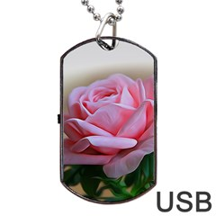 Rose Pink Flowers Pink Saturday Dog Tag Usb Flash (two Sides)