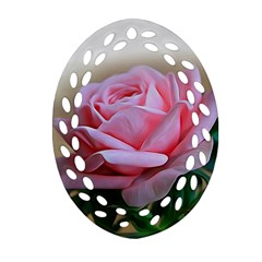 Rose Pink Flowers Pink Saturday Oval Filigree Ornament (2 Side)