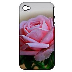Rose Pink Flowers Pink Saturday Apple Iphone 4/4s Hardshell Case (pc+silicone)