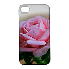 Rose Pink Flowers Pink Saturday Apple Iphone 4/4s Hardshell Case With Stand