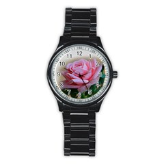 Rose Pink Flowers Pink Saturday Stainless Steel Round Watch