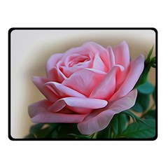 Rose Pink Flowers Pink Saturday Double Sided Fleece Blanket (small)