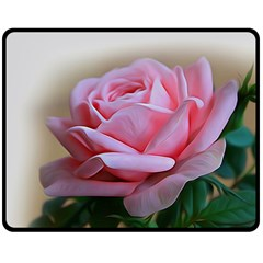 Rose Pink Flowers Pink Saturday Double Sided Fleece Blanket (medium)