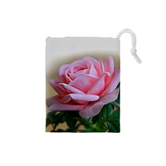 Rose Pink Flowers Pink Saturday Drawstring Pouches (small)