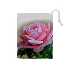 Rose Pink Flowers Pink Saturday Drawstring Pouches (medium)