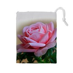 Rose Pink Flowers Pink Saturday Drawstring Pouches (large)