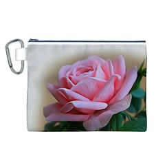 Rose Pink Flowers Pink Saturday Canvas Cosmetic Bag (l)